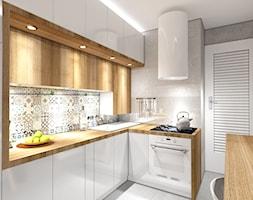 Kuchnia na Wodnej - nowa odsłona - Średnia zamknięta szara kolorowa kuchnia w kształcie litery g, styl skandynawski - zdjęcie od pracownia2b