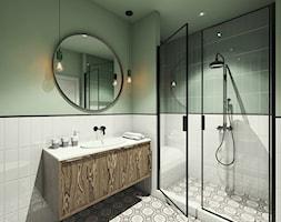 WILANÓW | APARTAMENT - Mała biała zielona łazienka w bloku w domu jednorodzinnym bez okna, styl industrialny - zdjęcie od MAKAO home
