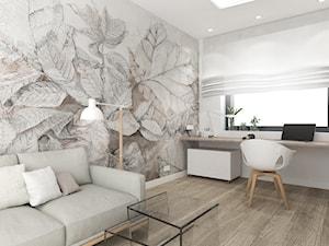 GABINET W DOMU JEDNORODZINNYM / Nieborowice - Średnie beżowe białe biuro pracownia domowe w pokoju, styl nowoczesny - zdjęcie od TIUK Studio