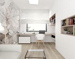 GABINET W DOMU JEDNORODZINNYM / Nieborowice - Średnie beżowe białe biuro domowe w pokoju, styl nowoczesny - zdjęcie od TIUK Studio