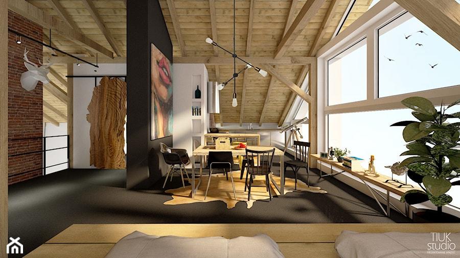 DOM Z DUSZĄ / Osięciny - Duża otwarta biała czarna jadalnia w kuchni w salonie, styl industrialny - zdjęcie od TIUK Studio