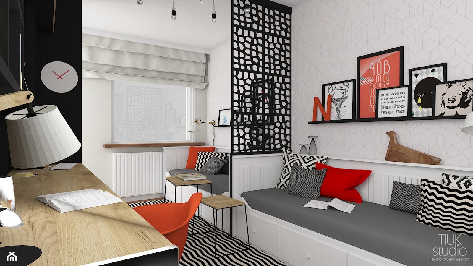 Pokój Natalii i Szymona - Średni biały szary pokój dziecka dla dziewczynki dla ucznia dla nastolatka, styl nowoczesny - zdjęcie od TIUK Studio - Homebook