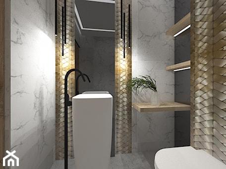 Aranżacje wnętrz - Łazienka: Dom 1 - Mała biała czarna łazienka bez okna, styl nowoczesny - zuzanna-hyla. Przeglądaj, dodawaj i zapisuj najlepsze zdjęcia, pomysły i inspiracje designerskie. W bazie mamy już prawie milion fotografii!