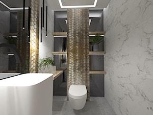 Dom 1 - Mała szara łazienka bez okna, styl nowoczesny - zdjęcie od zuzanna-hyla