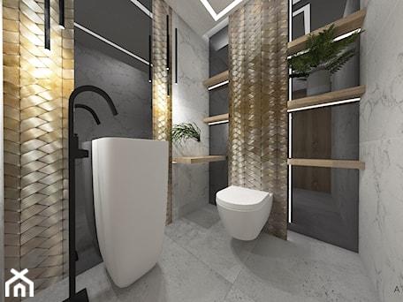 Aranżacje wnętrz - Łazienka: Dom 1 - Średnia czarna szara łazienka w bloku w domu jednorodzinnym bez okna, styl nowoczesny - zuzanna-hyla. Przeglądaj, dodawaj i zapisuj najlepsze zdjęcia, pomysły i inspiracje designerskie. W bazie mamy już prawie milion fotografii!