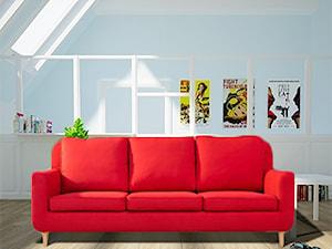 Skandynawski salon w odcieniach lazurowego i czerwieni