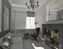 KRAKÓW - Średnie szare biuro domowe kącik do pracy w pokoju, styl tradycyjny - zdjęcie od Dorota Orawiec-Mazur