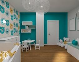 dziecięco / młodzieżowo - Duży szary niebieski pokój dziecka dla chłopca dla dziewczynki dla ucznia dla niemowlaka dla malucha, styl nowoczesny - zdjęcie od Pracownia Projektowania | Daria Ciuńczyk-Duda