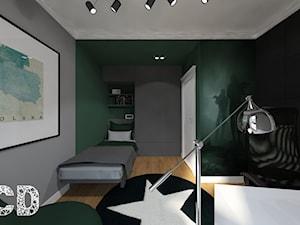 NYC - Średni szary zielony czarny pokój dziecka dla chłopca dla dziewczynki dla ucznia dla nastolatka, styl nowojorski - zdjęcie od Pracownia Projektowania | Daria Ciuńczyk-Duda