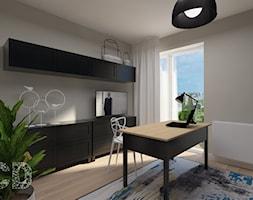 Apartament nad skarpą - Małe niebieskie szare biuro domowe w pokoju, styl nowoczesny - zdjęcie od Pracownia Projektowania | Daria Ciuńczyk-Duda