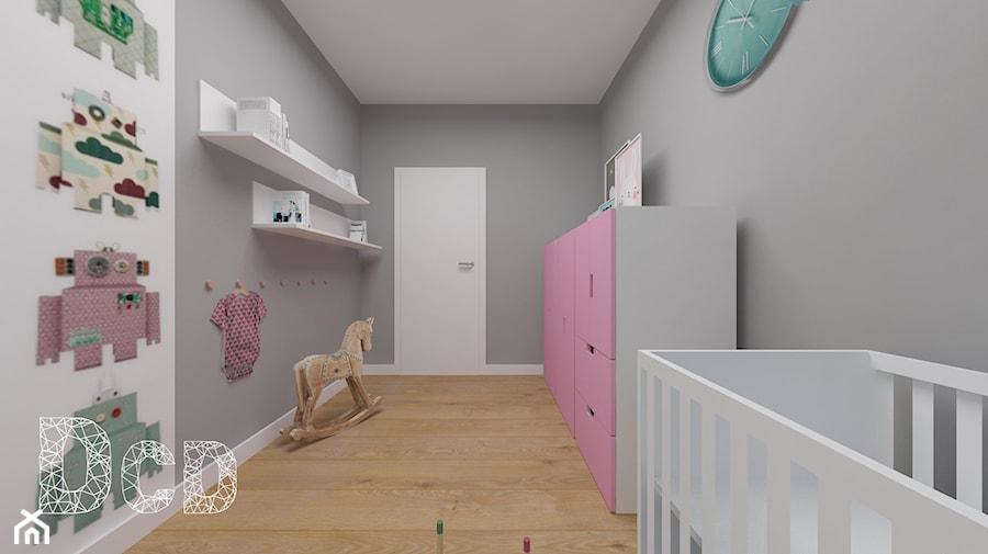 Aranżacje wnętrz - Pokój dziecka: dziecięco / młodzieżowo - Średni szary pokój dziecka dla dziewczynki dla niemowlaka, styl minimalistyczny - Pracownia Projektowania | Daria Ciuńczyk-Duda. Przeglądaj, dodawaj i zapisuj najlepsze zdjęcia, pomysły i inspiracje designerskie. W bazie mamy już prawie milion fotografii!