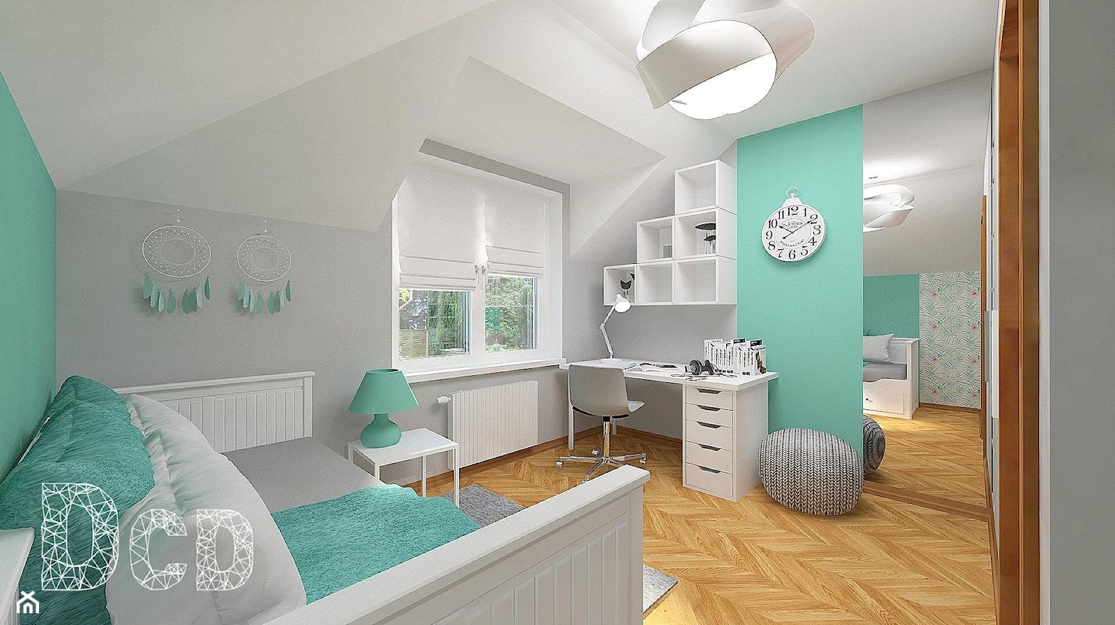 dziecięco / młodzieżowo - Średni szary zielony pokój dziecka dla chłopca dla dziewczynki dla ucznia dla nastolatka, styl nowoczesny - zdjęcie od Pracownia Projektowania | Daria Ciuńczyk-Duda - Homebook