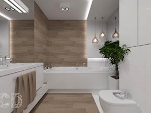 Apartament nad skarpą - Średnia biała beżowa łazienka w bloku w domu jednorodzinnym bez okna, styl nowoczesny - zdjęcie od Pracownia Projektowania | Daria Ciuńczyk-Duda