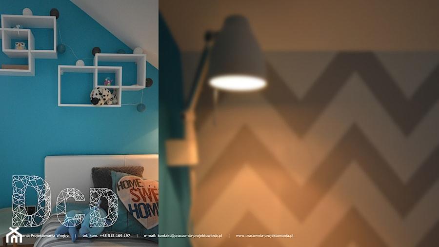 dziecięco / młodzieżowo - Mały szary niebieski czarny pokój dziecka dla chłopca dla dziewczynki dla nastolatka, styl nowoczesny - zdjęcie od Pracownia Projektowania | Daria Ciuńczyk-Duda