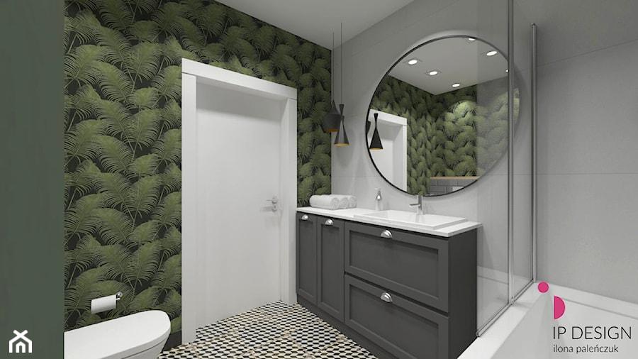 mieszkanie.Mikołajki 2 - Średnia szara zielona łazienka w bloku w domu jednorodzinnym bez okna, styl eklektyczny - zdjęcie od ip-design