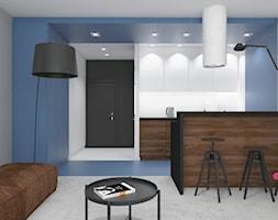 mieszkanie.Mikołajki 3 - Średnia otwarta biała szara niebieska kuchnia dwurzędowa w aneksie, styl minimalistyczny - zdjęcie od ip-design