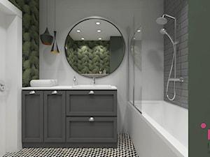 mieszkanie.Mikołajki 2 - Mała biała łazienka w bloku w domu jednorodzinnym bez okna, styl eklektyczny - zdjęcie od ip-design
