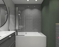 mieszkanie.Mikołajki 2 - Mała zielona łazienka w bloku w domu jednorodzinnym bez okna, styl eklektyczny - zdjęcie od ip-design