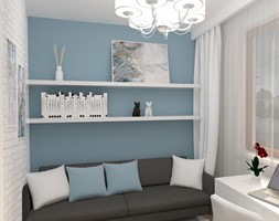 Projekt domu 140m2 - Mała niebieska sypialnia małżeńska, styl skandynawski - zdjęcie od Skrzypczynski_pracownia