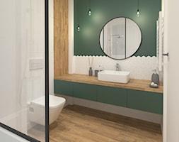 Projekt mieszkania 65m2 - Średnia biała zielona łazienka w bloku w domu jednorodzinnym bez okna, styl nowoczesny - zdjęcie od Skrzypczynski_pracownia