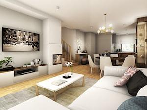 Szeregówka w Rzeszowie 120 m2 - Mały szary salon z kuchnią z jadalnią - zdjęcie od Viva Design Pracownia Projektowania Wnętrz