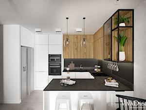 Loftowe mieszkanie w Krakowie - Średnia otwarta biała szara czarna kuchnia w kształcie litery g w aneksie, styl rustykalny - zdjęcie od Viva Design Pracownia Projektowania Wnętrz