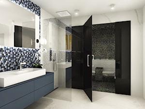 Dom w Norwegii 230 m2 - Duża łazienka w bloku w domu jednorodzinnym jako domowe spa bez okna - zdjęcie od Viva Design Pracownia Projektowania Wnętrz