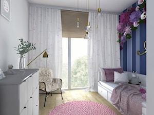 Apartament na Dzielnicy Parkowej w Rzeszowie - Mały biały niebieski pokój dziecka dla dziewczynki dla nastolatka - zdjęcie od Viva Design Pracownia Projektowania Wnętrz