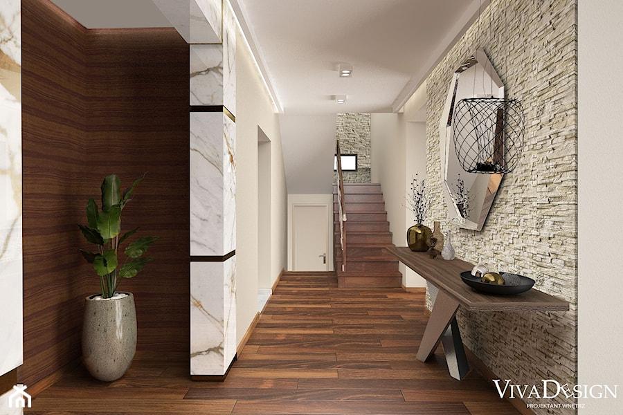 Dom w kolorach jesieni - Duży biały szary hol / przedpokój, styl nowoczesny - zdjęcie od Viva Design Pracownia Projektowania Wnętrz