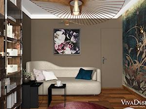 Dom w kolorach jesieni - Średnie beżowe brązowe kolorowe biuro domowe kącik do pracy w pokoju - zdjęcie od Viva Design Pracownia Projektowania Wnętrz
