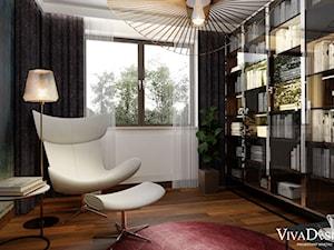 Dom w kolorach jesieni - Średnie szare białe biuro domowe w pokoju, styl nowoczesny - zdjęcie od Viva Design Pracownia Projektowania Wnętrz