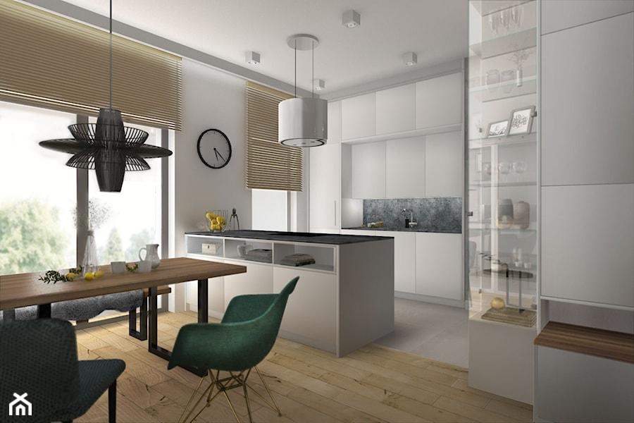 Apartament na Dzielnicy Parkowej w Rzeszowie - Średnia otwarta biała jadalnia w kuchni - zdjęcie od Viva Design Pracownia Projektowania Wnętrz