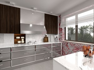 Dom w kolorach jesieni - Średnia otwarta szara czerwona kuchnia jednorzędowa z wyspą z oknem, styl nowoczesny - zdjęcie od Viva Design Pracownia Projektowania Wnętrz