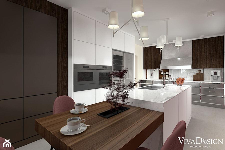 Dom w kolorach jesieni - Duża otwarta beżowa szara kuchnia w kształcie litery l z wyspą z oknem, styl nowoczesny - zdjęcie od Viva Design Pracownia Projektowania Wnętrz