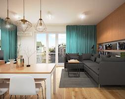 Wnętrze mieszkania w Warszawie - Średni biały salon z jadalnią, styl nowoczesny - zdjęcie od Tu architekci - Homebook
