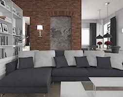 Wnętrze loftowe w Łodzi - Mały biały brązowy salon z jadalnią, styl industrialny - zdjęcie od Tu architekci