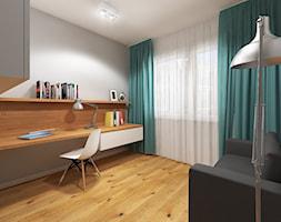 Wnętrze mieszkania w Warszawie - Średnie szare biuro domowe kącik do pracy w pokoju, styl nowoczesny - zdjęcie od Tu architekci