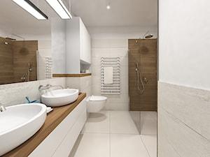 Wnętrze mieszkania na Teofilowie - Mała średnia biała beżowa łazienka w bloku w domu jednorodzinnym bez okna, styl skandynawski - zdjęcie od Tu architekci
