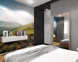 Wnętrze mieszkania w Warszawie - Mała szara czarna sypialnia małżeńska, styl nowoczesny - zdjęcie od Tu architekci - Homebook