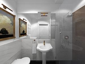 Wnętrze mieszkania w Aleksandrowie Łódzkim - Średnia biała łazienka bez okna, styl klasyczny - zdjęcie od Tu architekci