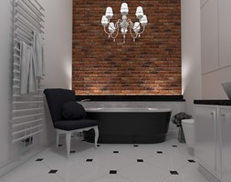 Wnętrze loftowe w Łodzi - Duża biała brązowa łazienka w domu jednorodzinnym, styl industrialny - zdjęcie od Tu architekci