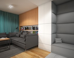 Wnętrze mieszkania w Warszawie - Średni biały salon z bibiloteczką, styl nowoczesny - zdjęcie od Tu architekci - Homebook