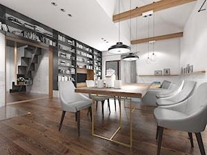 Wnętrze domu jednorodzinnego w Konstantynowie Łódzkim - Średnia otwarta biała jadalnia w salonie, styl skandynawski - zdjęcie od Tu architekci