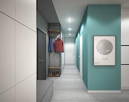 Wnętrze mieszkania w Warszawie - Średni szary turkusowy hol / przedpokój, styl nowoczesny - zdjęcie od Tu architekci - Homebook