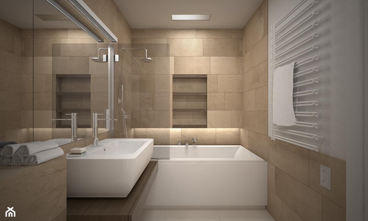 Wnętrze mieszkania na Radogoszczu - Mała średnia łazienka w bloku w domu jednorodzinnym bez okna, styl nowoczesny - zdjęcie od Tu architekci - Homebook
