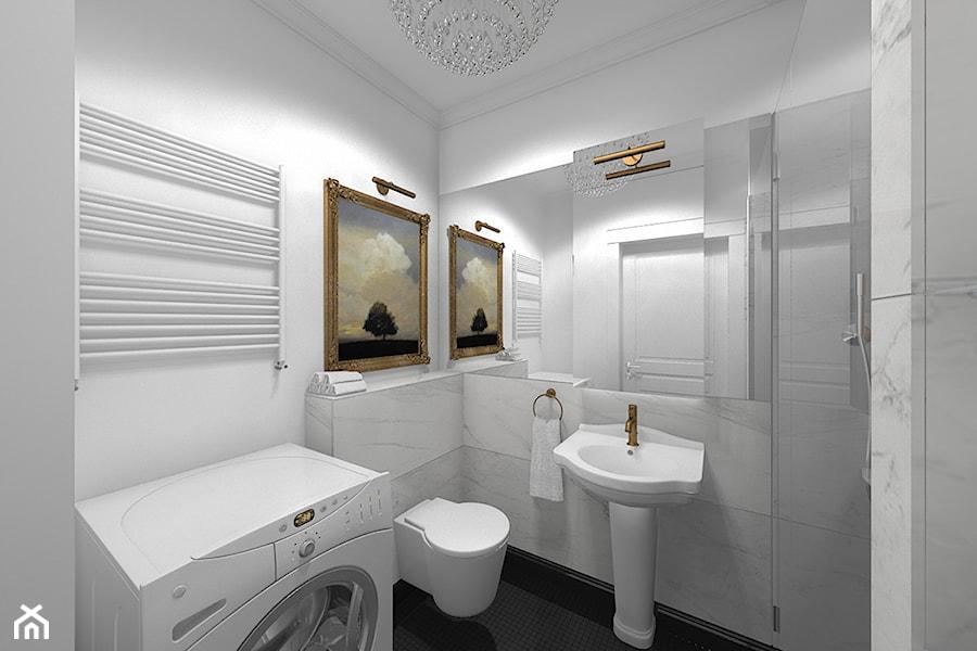 Wnętrze mieszkania w Aleksandrowie Łódzkim - Mała łazienka w bloku bez okna, styl klasyczny - zdjęcie od Tu architekci