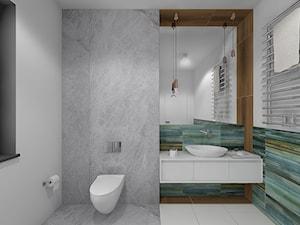 Wnętrze domu w Budach Grabskich - Biała szara kolorowa łazienka z oknem, styl nowoczesny - zdjęcie od Tu architekci