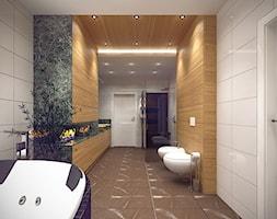 Wnętrze domu jednorodzinnego w Łodzi - Duża biała łazienka jako domowe spa bez okna, styl nowoczesny - zdjęcie od Tu architekci
