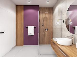 Wnętrze domu w Budach Grabskich - Średnia biała beżowa fioletowa łazienka jako salon kąpielowy, styl nowoczesny - zdjęcie od Tu architekci