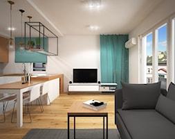 Wnętrze mieszkania w Warszawie - Średni biały salon z kuchnią z jadalnią, styl nowoczesny - zdjęcie od Tu architekci - Homebook
